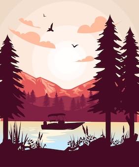 Płaska naturalna sztuka projektowania krajobrazu atmosfera jeziora i gór płaska