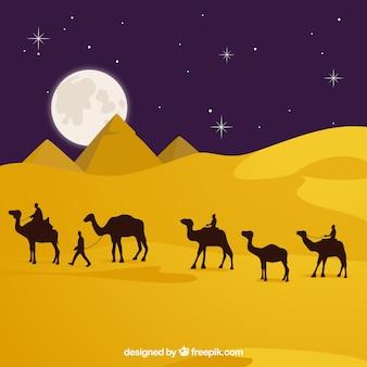 Płaska noc krajobraz z egipskimi piramidami i karawaną wielbłądów