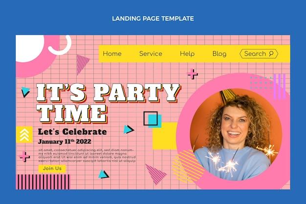 Płaska, nostalgiczna strona docelowa urodzin z lat 90.