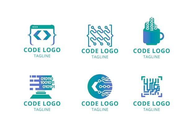 Płaska, nowoczesna kolekcja logo kodu