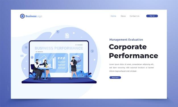 Płaska ocena wyników firmy na stronie docelowej przez zarządzanie