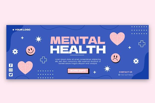 Płaska okładka facebooka na temat zdrowia psychicznego