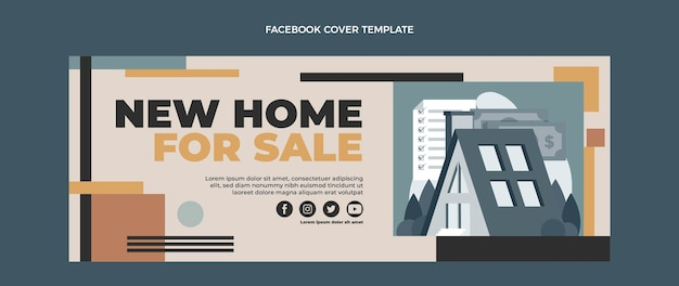 Płaska okładka na facebooku o nieruchomości