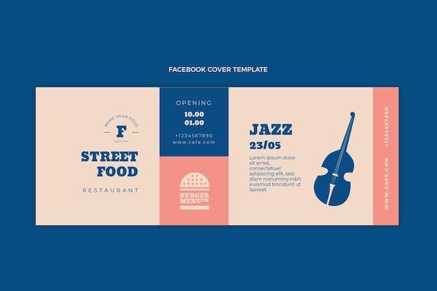 Płaska okładka na facebooku z jedzeniem ulicznym