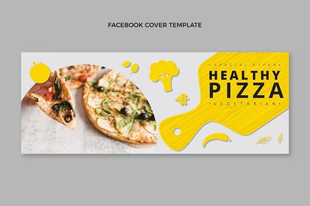 Płaska okładka zdrowej pizzy na facebooku