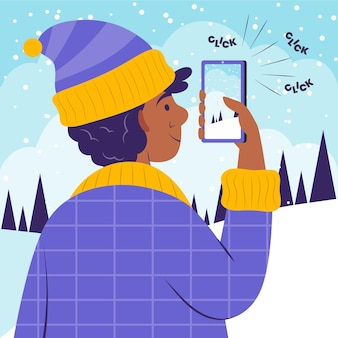 Płaska osoba robiąca zdjęcia smartfonem