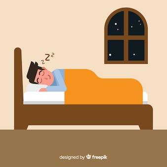 Płaska osoba śpi w tle łóżko