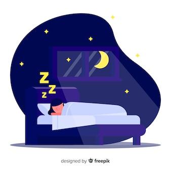 Płaska osoba śpiąca w łóżku