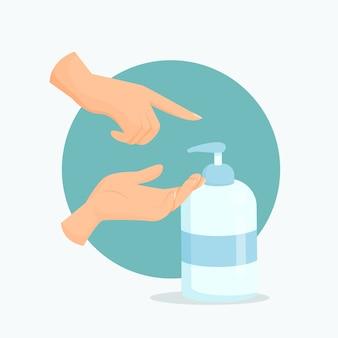 Płaska osoba używająca dezynfekcji rąk