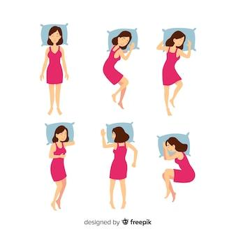 Płaska osoba w różnych pozycjach snu
