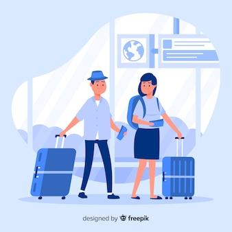 Płaska para podróżująca