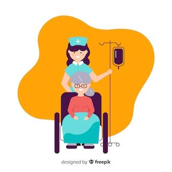 Płaska pielęgniarka dba o pacjenta
