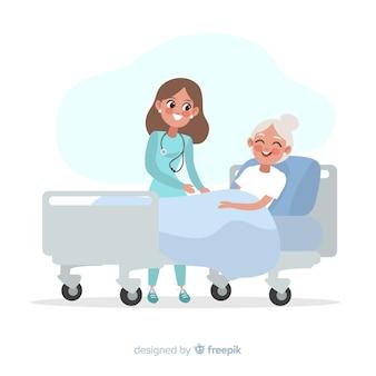 Płaska pielęgniarka pomaga chorym pacjentom