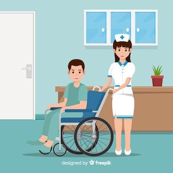 Płaska pielęgniarka pomaga pacjentowi