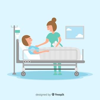 Płaska pielęgniarka z pacjentem