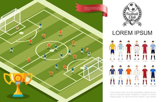 Płaska piłka nożna kolorowa z pucharami w meczu piłki nożnej i graczami w mundurach ilustracji różnych drużyn narodowych