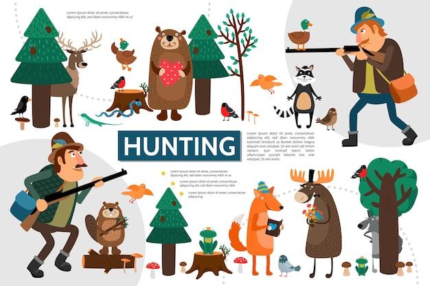 Płaska plansza myśliwska z myśliwymi dzikimi zwierzętami i ptakami na ilustracji lasu