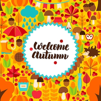 Płaska pocztówka jesień. ilustracja wektorowa koncepcji sezonowej jesieni.