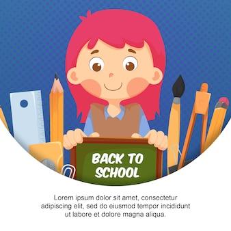 Płaska postać dzieci z elementem z powrotem do szkoły