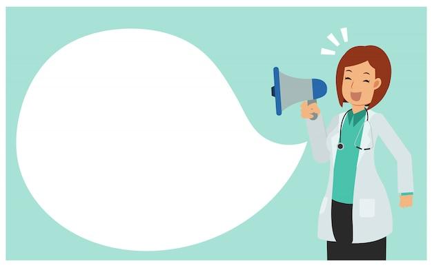 Płaska postać z kreskówki kobiety lekarka bierze mikrofon ogłaszać. lekarz trzyma megafon.