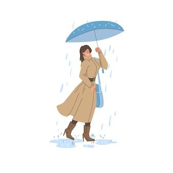Płaska postać z kreskówki w sezonie jesiennym spacerująca na świeżym powietrzu pod deszczem trzymająca parasol