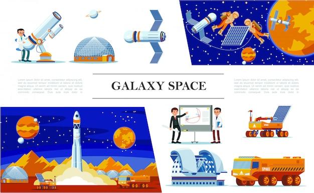 Płaska przestrzeń i skład galaktyk z naukowcami, teleskopem planetarium, astronauci naprawiają rakietę satelitarną, łazik księżycowy i ciężarówkę