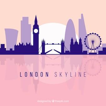 Płaska purpurowa linia horyzontu london