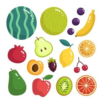 Płaska, pyszna kolekcja owoców