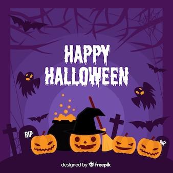 Płaska rama halloween z okultystycznym wystrojem z dyni