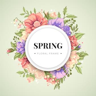 Płaska rama kwiatowy wiosna