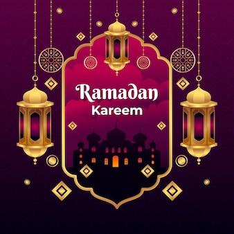 Płaska ramadan kareem ilustracja