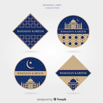 Płaska ramadan kolekcja etykiet