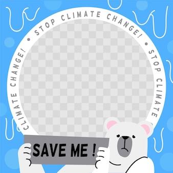 Płaska ramka na facebooku dotycząca zmian klimatycznych
