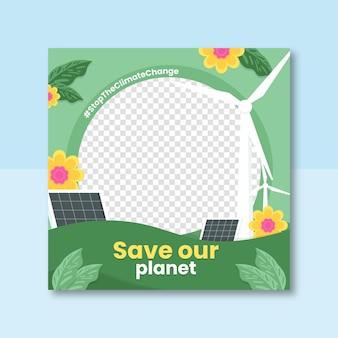 Płaska ramka na facebooku na temat zmian klimatu na zdjęcie profilowe