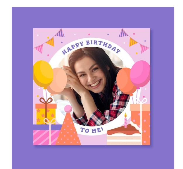 Płaska ramka na urodziny na facebooku
