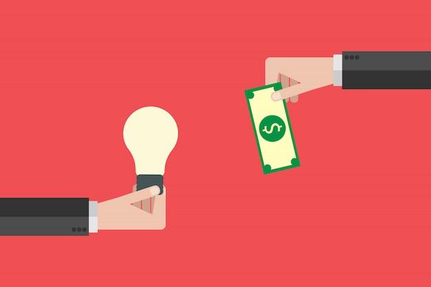 Płaska ręka trzyma pieniądze, a ręka trzyma żarówkę. kup pomysł, inwestując w innowacje, biznes nowoczesnych technologii. ilustracja