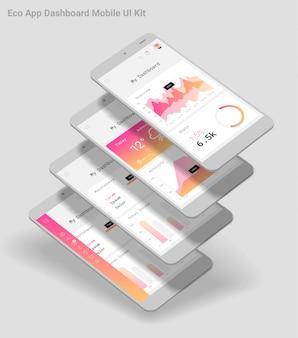 Płaska, responsywna aplikacja mobilna admin dashboard ui z makietami 3d