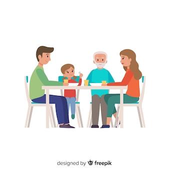 Płaska rodzina siedzi wokół ilustracji tabeli