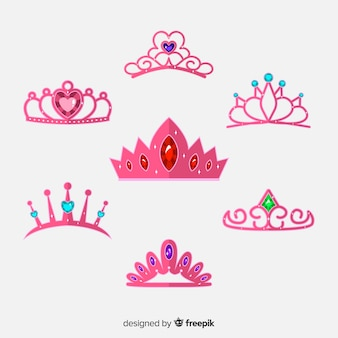 Płaska różowa księżniczka kolekcja tiara