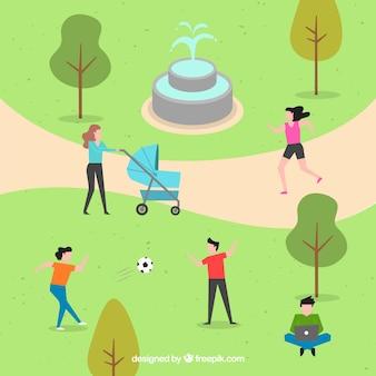 Płaska scena ludzi robi aktywności w parku