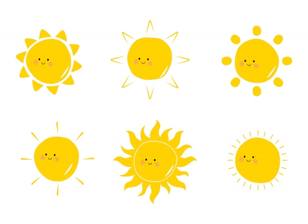 Płaska śliczna słońc inkasowa ręka rysująca doodle ilustracja. kawaii sun cartoon