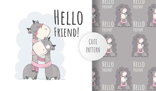 Płaska śliczna żyrafa, witaj przyjacielu. ilustracja wzór