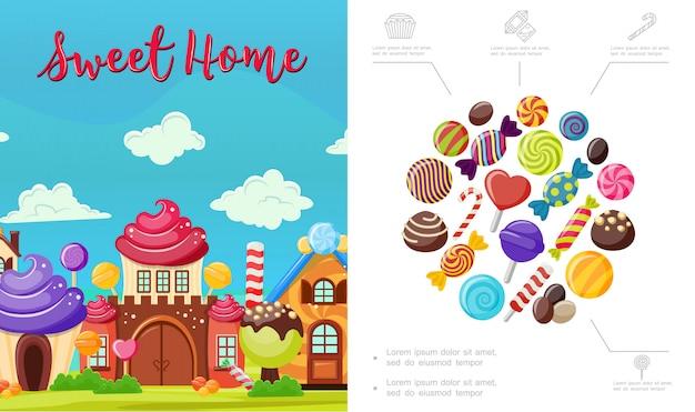 Płaska słodka domowa kompozycja z smacznymi kolorowymi cukierkami, jasny domek z bitej śmietany, czekoladą i lizakami