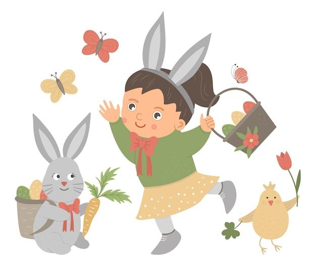 Płaska śmieszna dziewczynka z uszami królika, koszykiem z jajkami, zajączkiem, kurczakiem i motylem. śliczna wielkanocna ilustracja. obraz wakacje wiosna na białym tle.