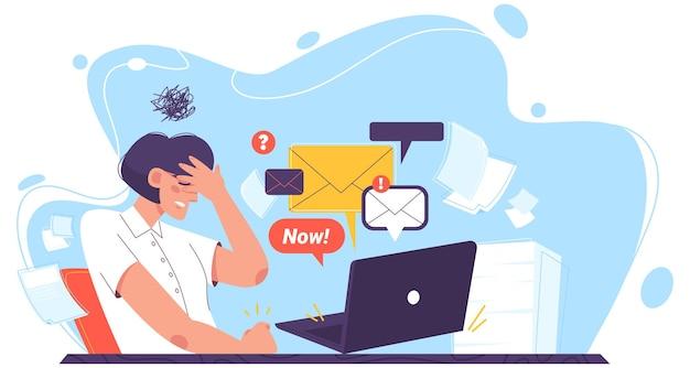 Płaska smutna dziewczyna w depresji odczuwa niepokój, ból głowy, zmęczenie. kobieta odpowiada na listy, wiadomości.