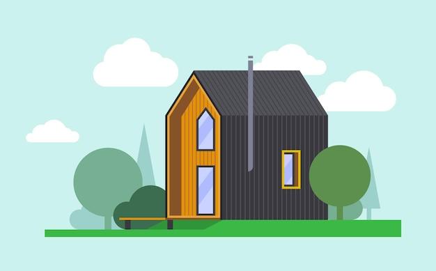 Płaska stodoła, nowoczesny, piętrowy dom na tle natury. tło dla sieci web i druku. clipartów wektor poziomy.
