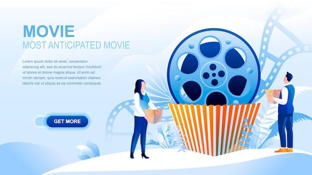 Płaska strona docelowa filmu z nagłówkiem, szablon banner.
