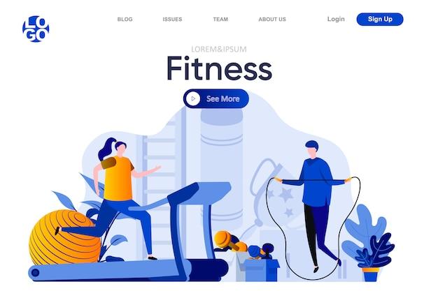 Płaska strona docelowa fitness. mężczyzna skacze z liny, kobieta na bieżni ilustracja. trening na siłowni, zajęcia sportowe i skład strony motywującej do treningu z postaciami ludzi