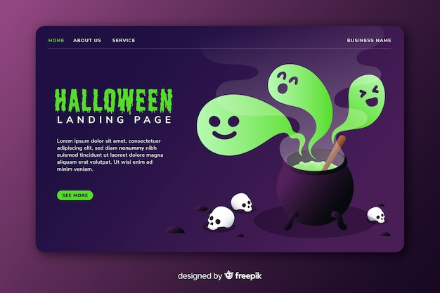 Płaska strona docelowa halloween z duchami