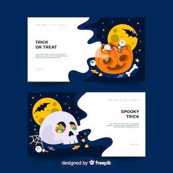 Płaska strona docelowa halloween z dyni i czaszki